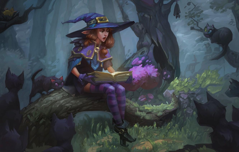 Photo wallpaper forest, cat, elf, tale, fantasy, art, book, children's, Fairy Tale, Veronika Firsova
