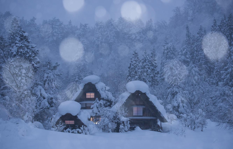 Photo wallpaper winter, forest, snow, trees, Japan, village, houses, Japan, Shirakawa, Shirakawa-go