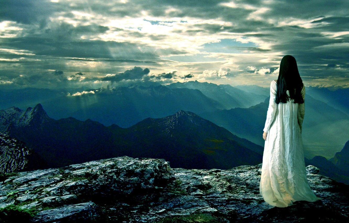 Photo wallpaper the sky, mountains, Girl, space, the sun's rays