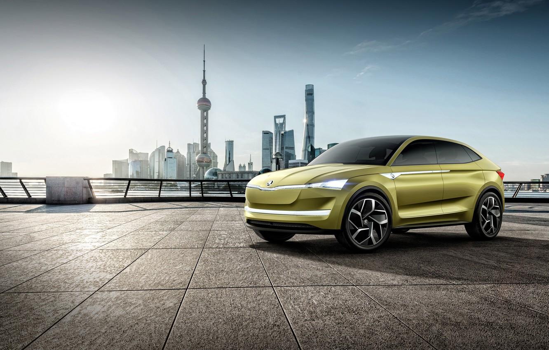 Photo wallpaper car, city, logo, yellow, Czech Republic, a subsidiary of the Volkswagen Group, Skoda Auto, Skoda …