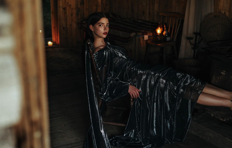 Wallpaper Fire Model Candles Makeup Dress Brunette