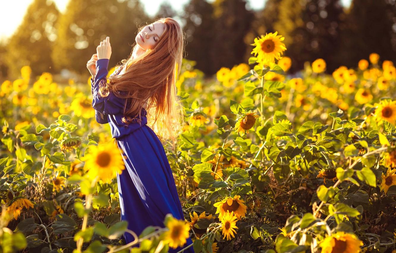 Photo wallpaper summer, girl, sunflowers, dress, Maria Lazareva