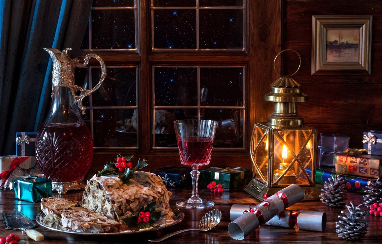 Photo wallpaper wine, glass, window, Christmas, pie, lantern, gifts, pitcher, still life, bumps