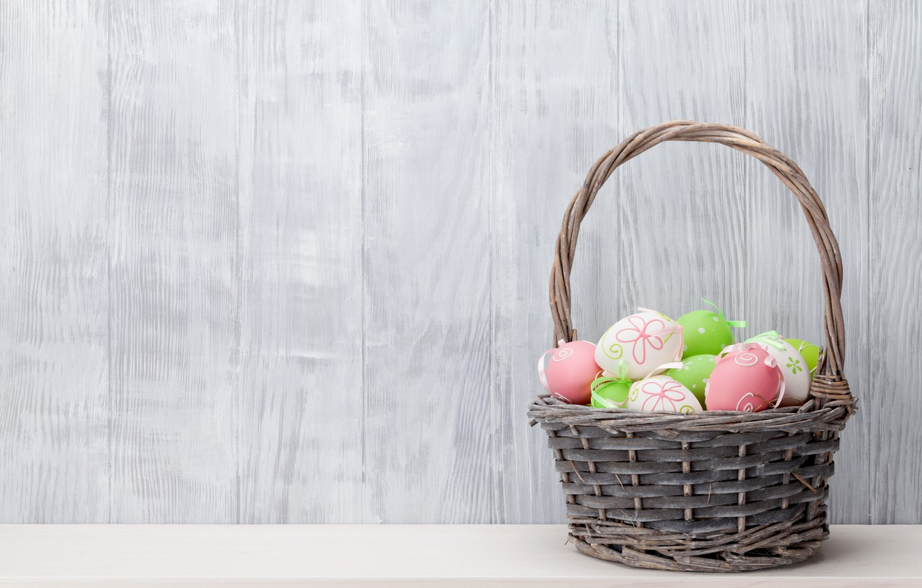 Photo wallpaper basket, Easter, spring, Easter, eggs, decoration, basket, Happy, the painted eggs