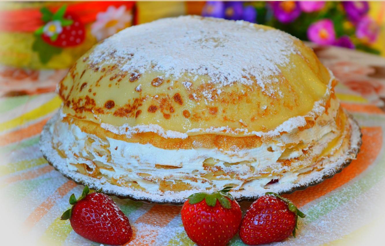 Photo wallpaper Strawberry, Strawberry, Cake, Cake, pancake cake