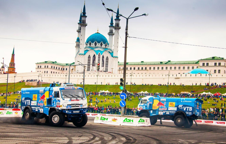 Photo wallpaper Auto, Blue, Machine, People, Truck, Master, Skid, The Kremlin, Drift, Russia, Red Bull, Kazan, Mosque, …