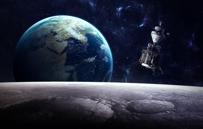 Photo wallpaper planet, sci fi, satelite