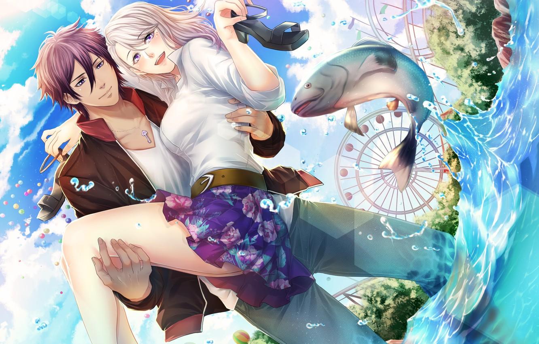 Photo wallpaper girl, romance, anime, art, pair, guy, two, tagme artist
