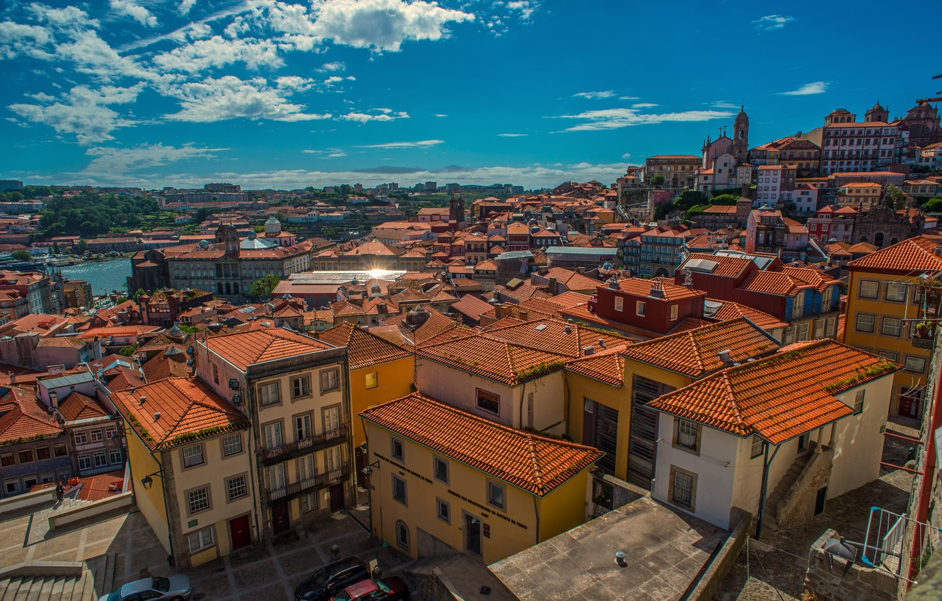 Photo wallpaper building, home, roof, panorama, Portugal, Portugal, Porto, Port