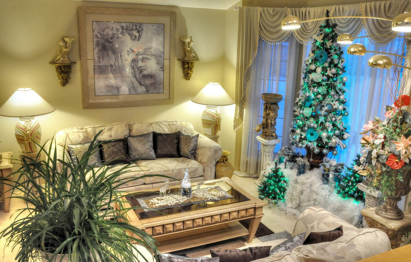 Photo wallpaper flowers, sofa, holiday, lamp, plants, picture, New Year, Christmas, table, living room