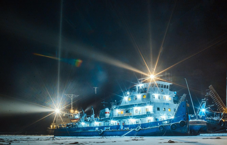 Photo wallpaper night lights, Shore, ferry