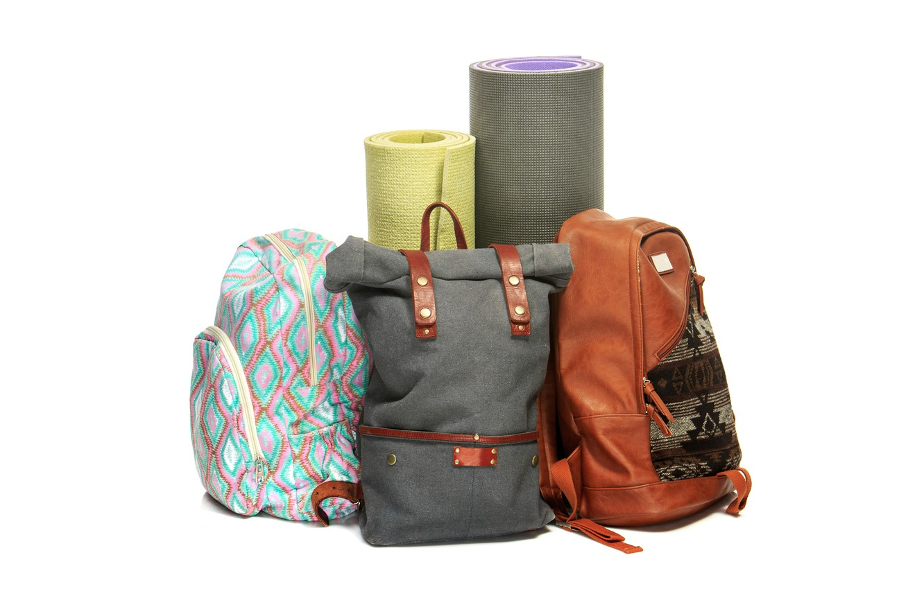 Photo wallpaper white background, bags, rolls