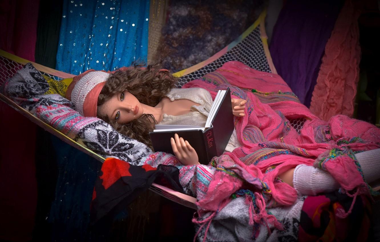 Photo wallpaper toy, doll, hammock, book