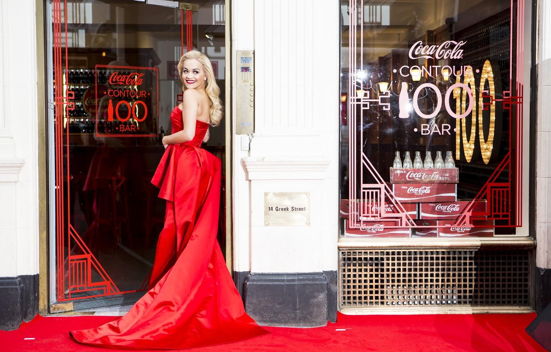 Photo wallpaper smile, red dress, Coca Cola, Rita Ora
