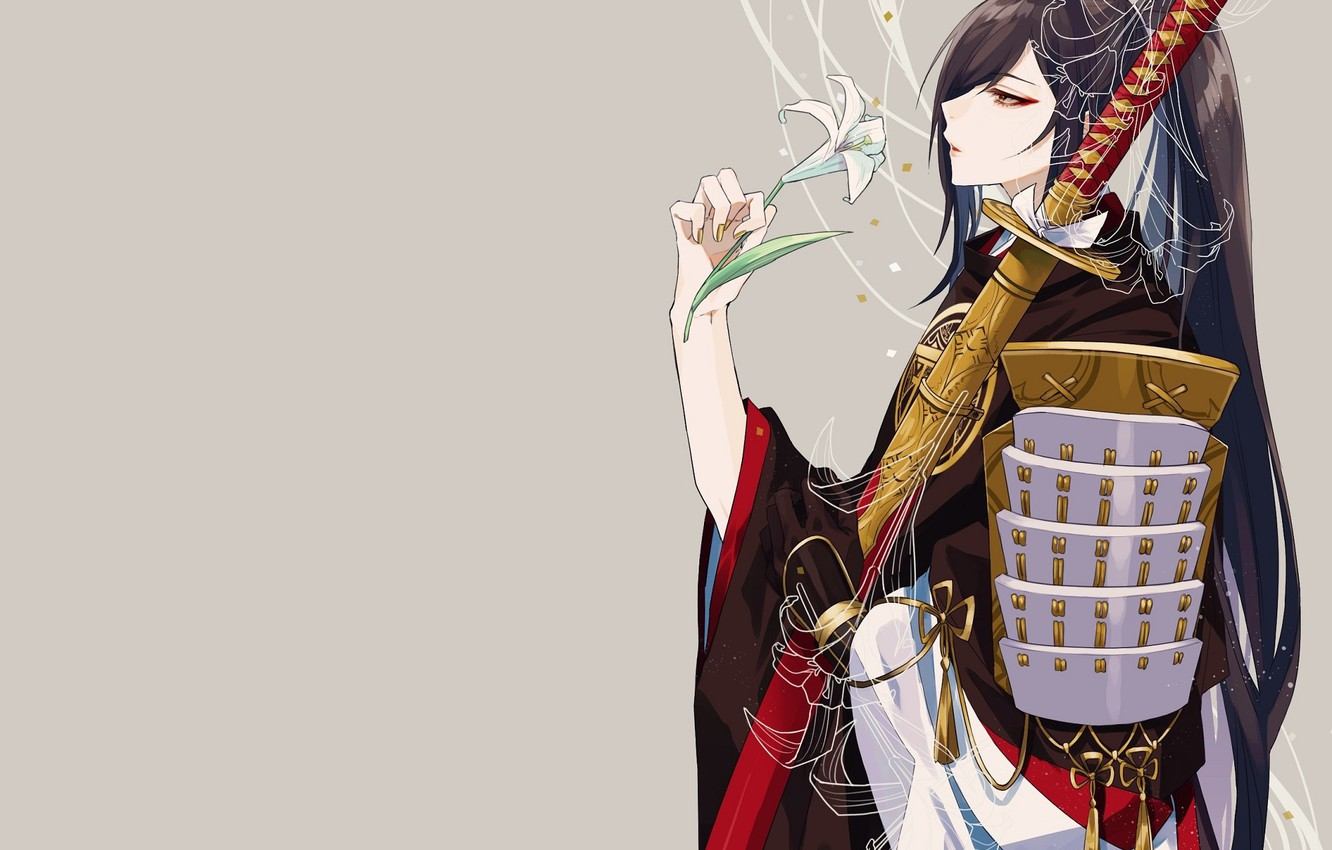 Photo wallpaper Lily, katana, armor, samurai, profile, grey background, long hair, sheath, Touken Ranbu, Juzumaru Tsunetsugu