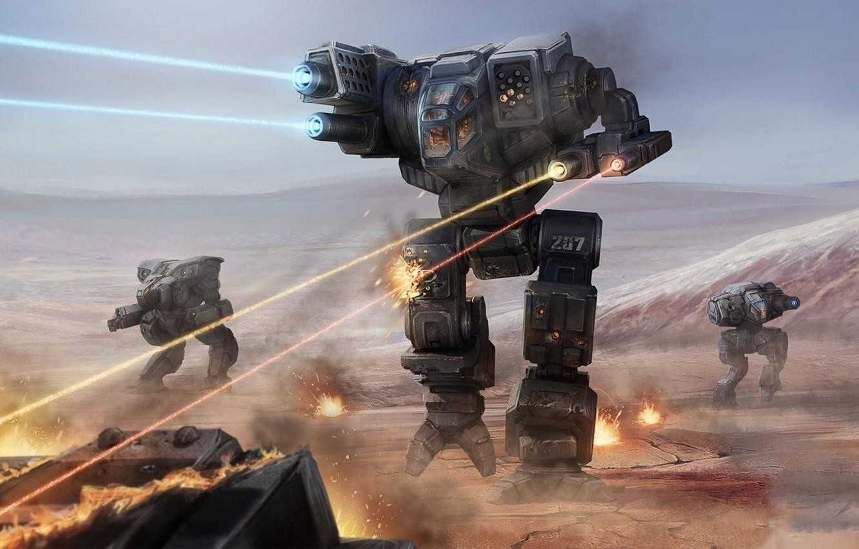 Photo wallpaper gun, game, robot, mecha, weapon, war, combat, BattleTech