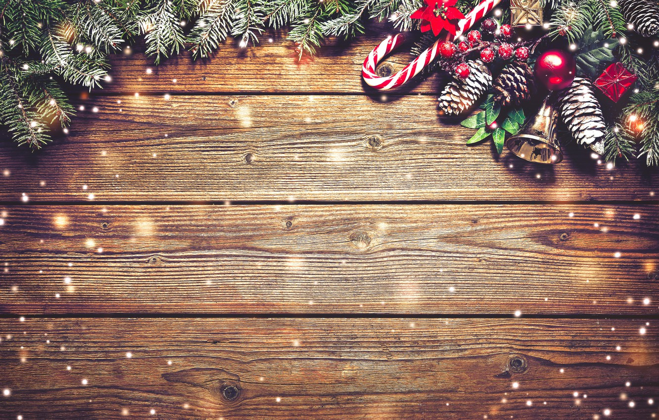 Photo wallpaper decoration, branches, Board, New Year, Christmas, christmas, balls, bumps, wood, snow, merry christmas, decoration, xmas, …