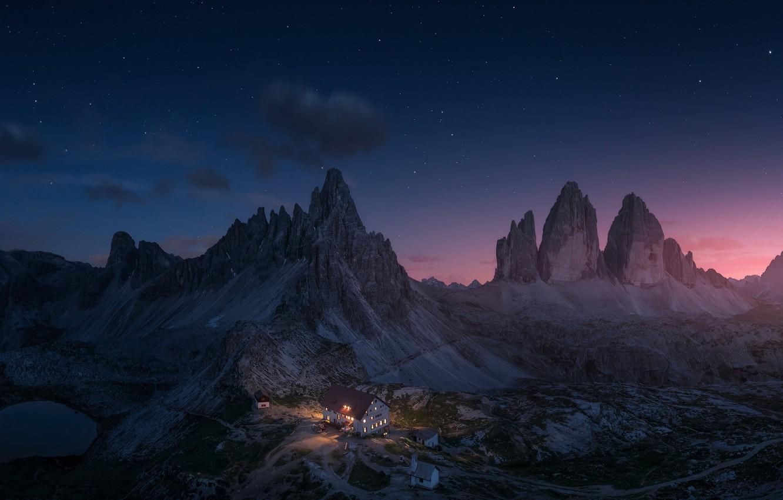 Photo wallpaper stars, mountains, night, house, Alps