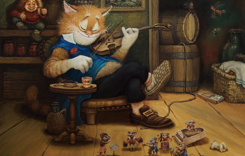 Photo wallpaper cat, violin, figure, tale, art, children's, Tales of the cat Kuzma, Alexander Maskaev, evening