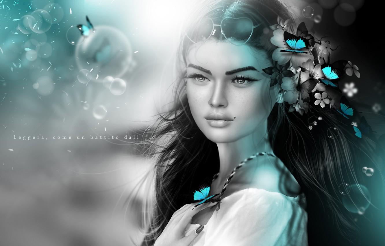 Photo wallpaper girl, butterfly, flowers, mood, hair, mole