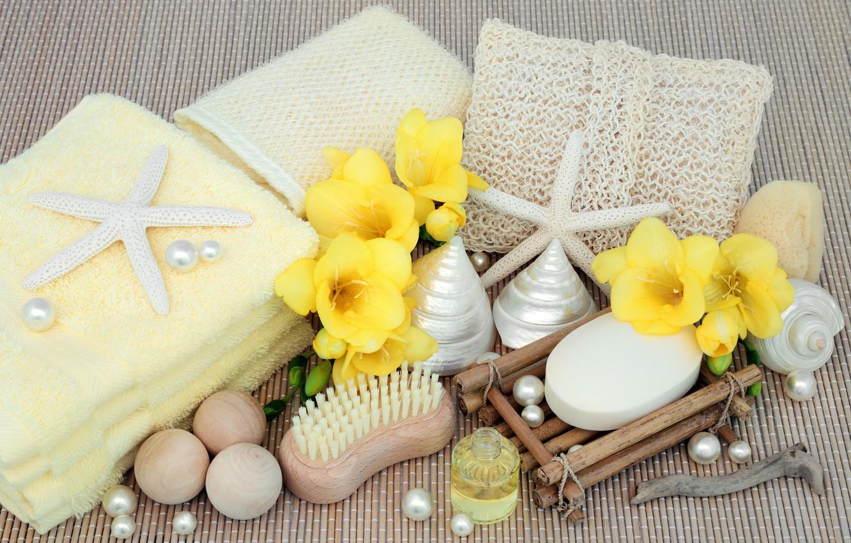 Photo wallpaper flowers, soap, shell, flowers, bath, marine, still life, candle, spa, starfish, salt, seashells