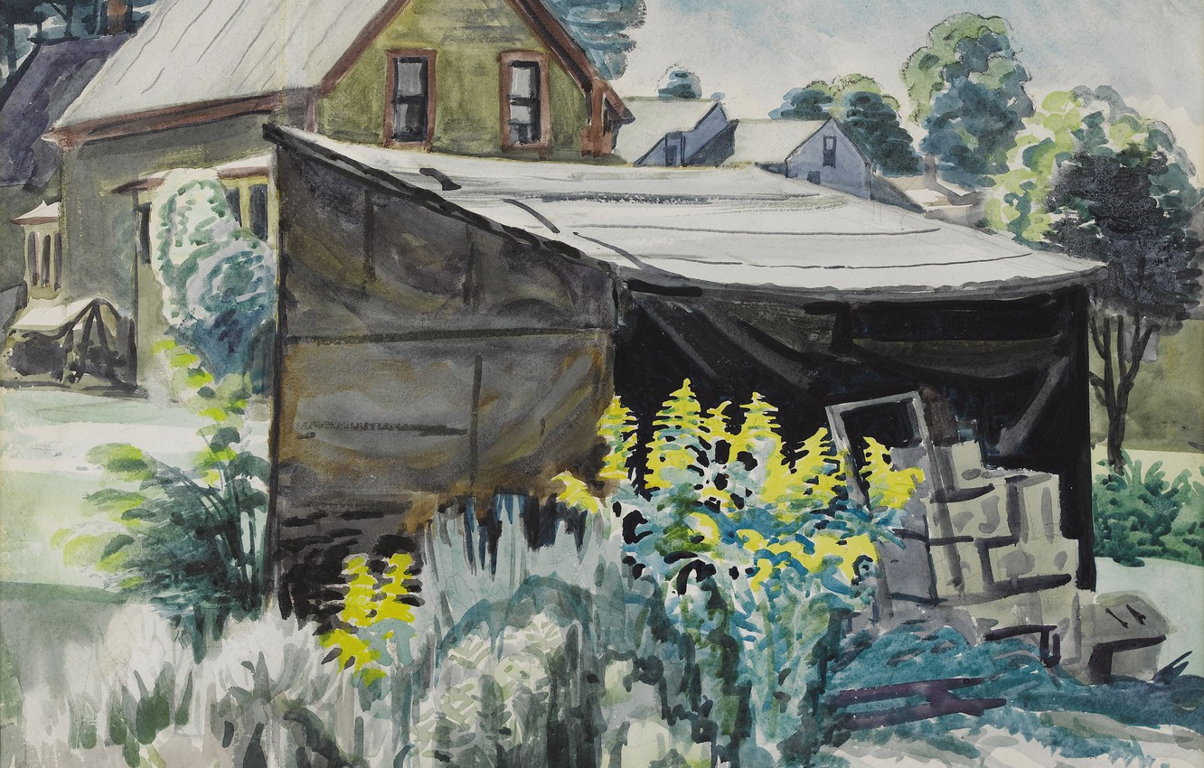 Photo wallpaper 1923, Charles Ephraim Burchfield, Goldenrod and Shed