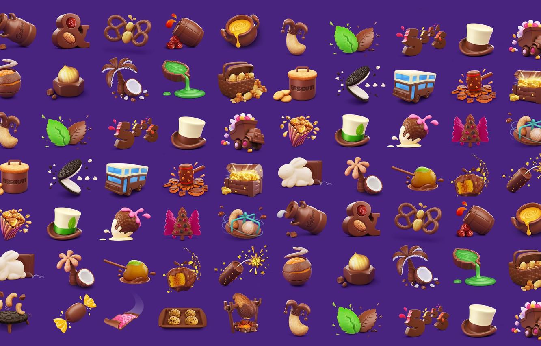 Photo wallpaper rendering, food, sweets, children's, snacks, AJ Jefferies, Cadbury Dairy Milk Icons