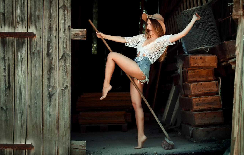 Photo wallpaper girl, joy, shorts, witch, broom, Witchcraft, EIKONAS