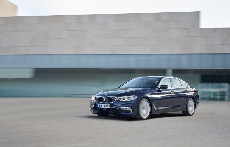 Photo wallpaper movement, the building, BMW, sedan, facade, xDrive, 530d, Luxury Line, 5, dark blue, four-door, 2017, …