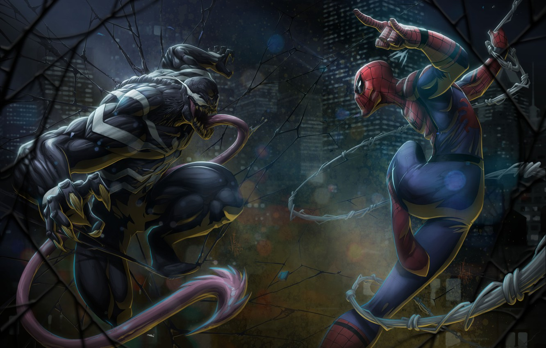 Photo wallpaper Language, Web, Costume, Hero, Superhero, Hero, Web, Marvel, Villain, Spider-man, Comics, Spider-Man, Venom, Venom, Peter …