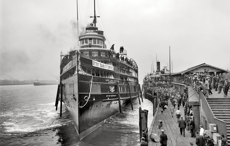 Photo wallpaper retro, ship, pier, steamer, USA