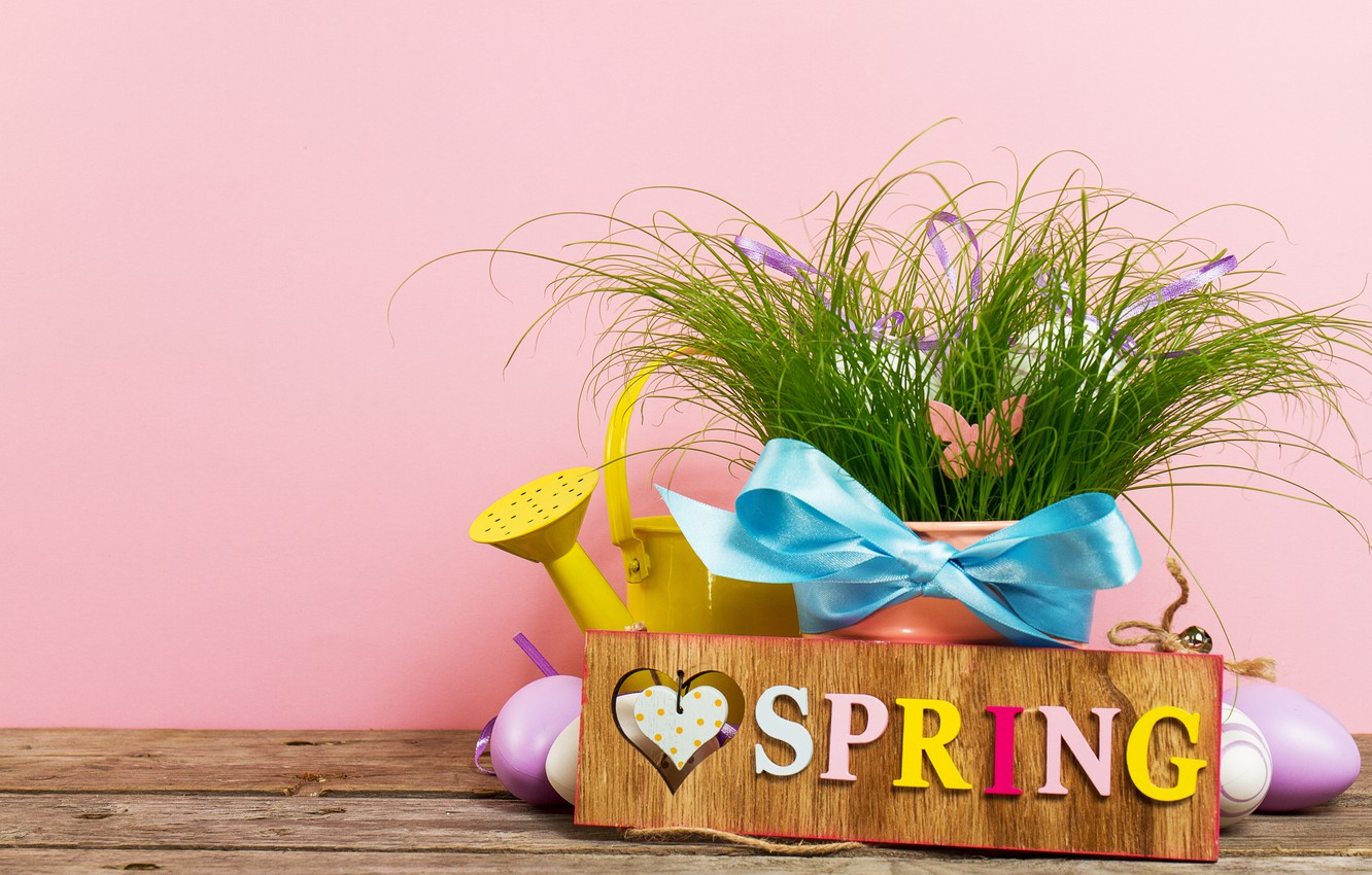 Photo wallpaper eggs, spring, Easter, grass, happy, wood, spring, Easter, eggs, decoration