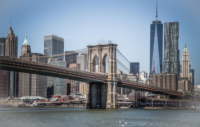 Wallpaper Sea New York Bridge Brooklyn Manhattan