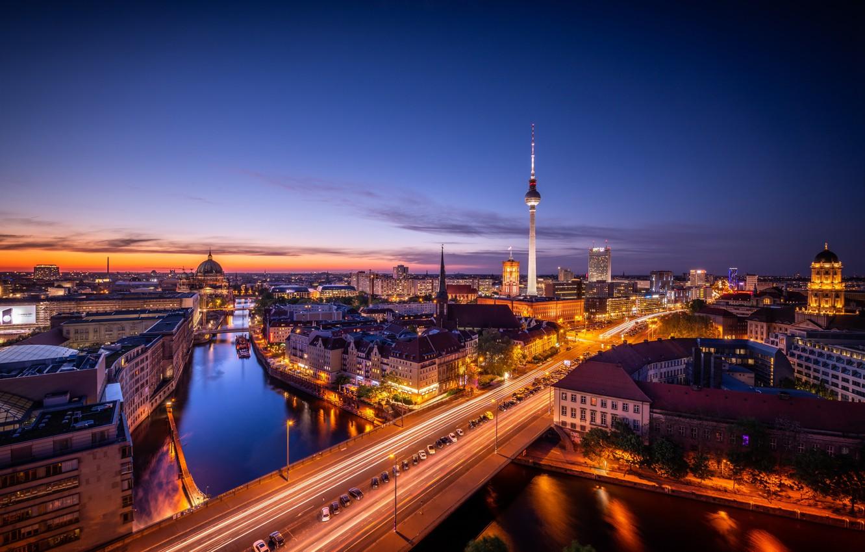 Photo wallpaper lights, the evening, Germany, backlight, Berlin