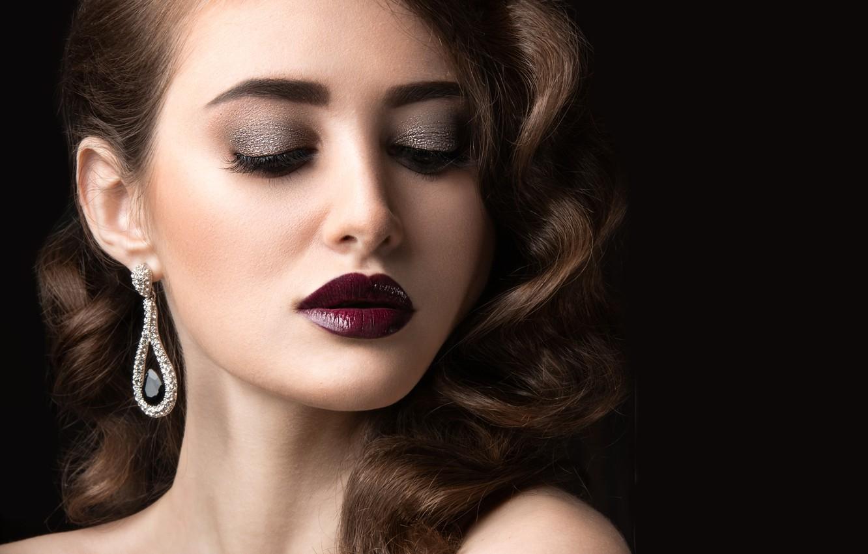 Photo wallpaper girl, eyelashes, hair, makeup, lipstick, hairstyle, shadows