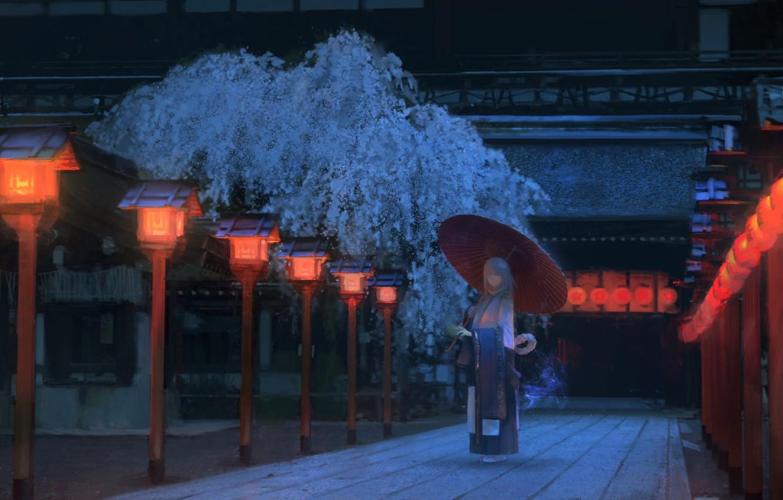 Photo wallpaper girl, night, Japan, Sakura, track, Japanese clothing, the red lanterns, wooden house, under the umbrella