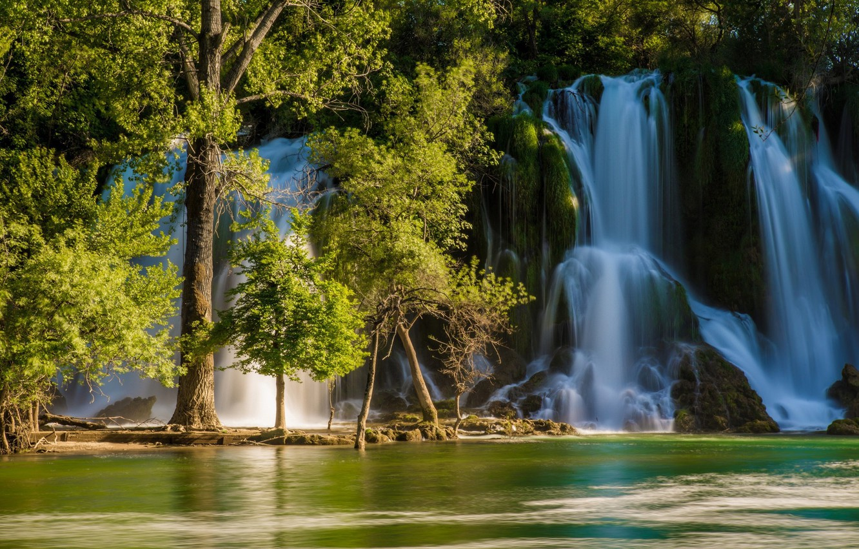 Photo wallpaper trees, river, waterfall, Bosnia and Herzegovina, Bosnia and Herzegovina, Kravice Falls, Trebizat river