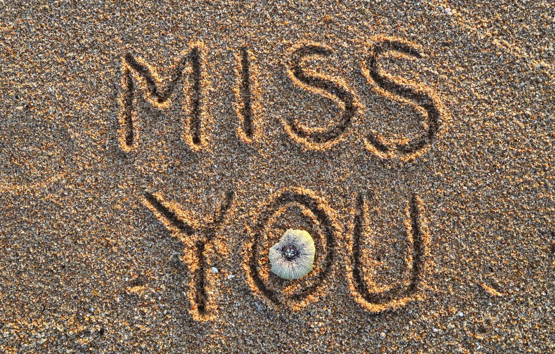Photo wallpaper sand, beach, summer, the inscription, summer, beach, sand, miss you