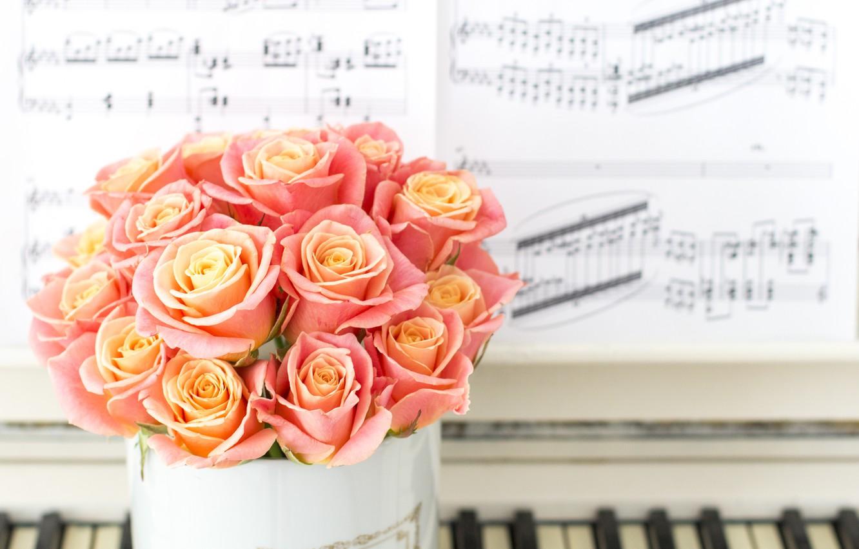 Photo wallpaper notes, bouquet, vase, Roses