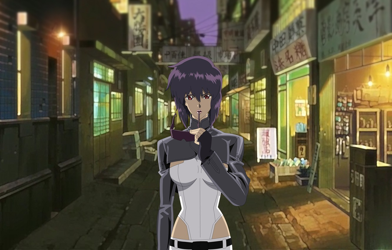 Photo wallpaper girl, street, glasses, lane, Ghost in the Shell, purple hair, The Fireworks Kusanagi, Motoko Kusanagi, …
