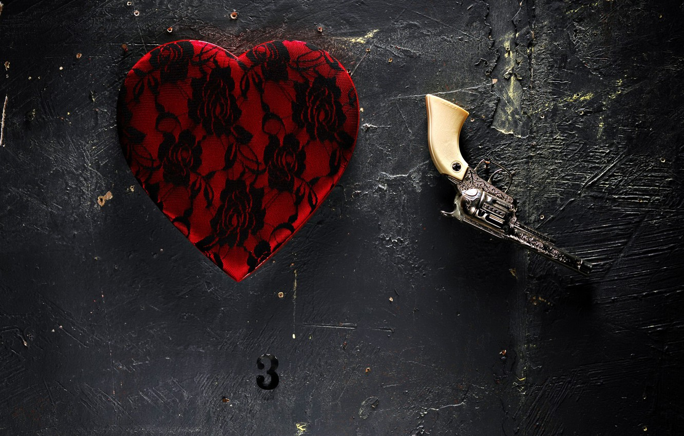 Photo wallpaper background, wall, things, This is not a heart, and this is not a gun