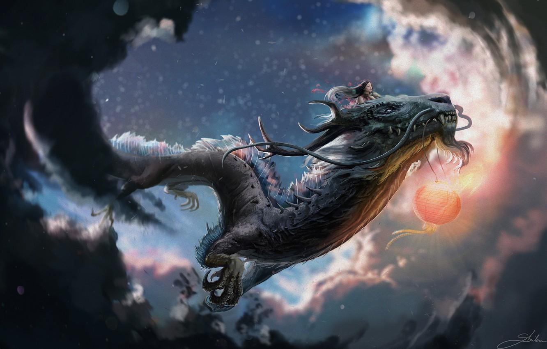 Photo wallpaper flight, dragon, girl, claws, horns, flying, mustache beard, cloudy sky, red lantern