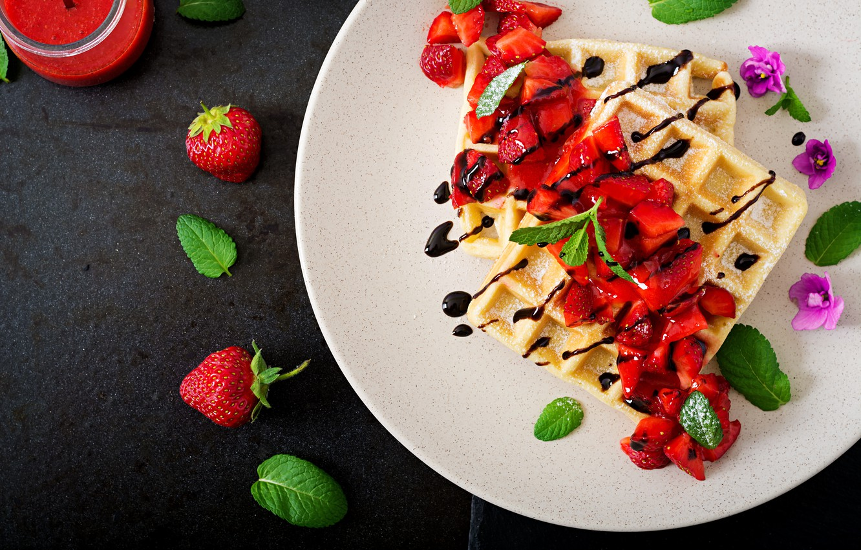 Photo wallpaper Chocolate, Strawberry, Dessert, Waffles