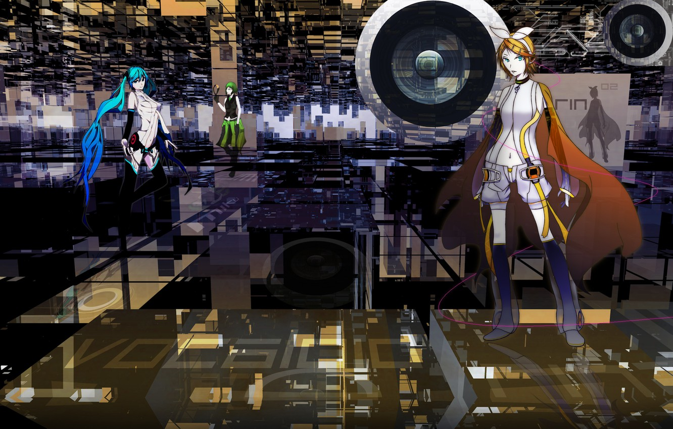 Photo wallpaper background, anime, art, speaker, Vocaloid, Vocaloid, characters