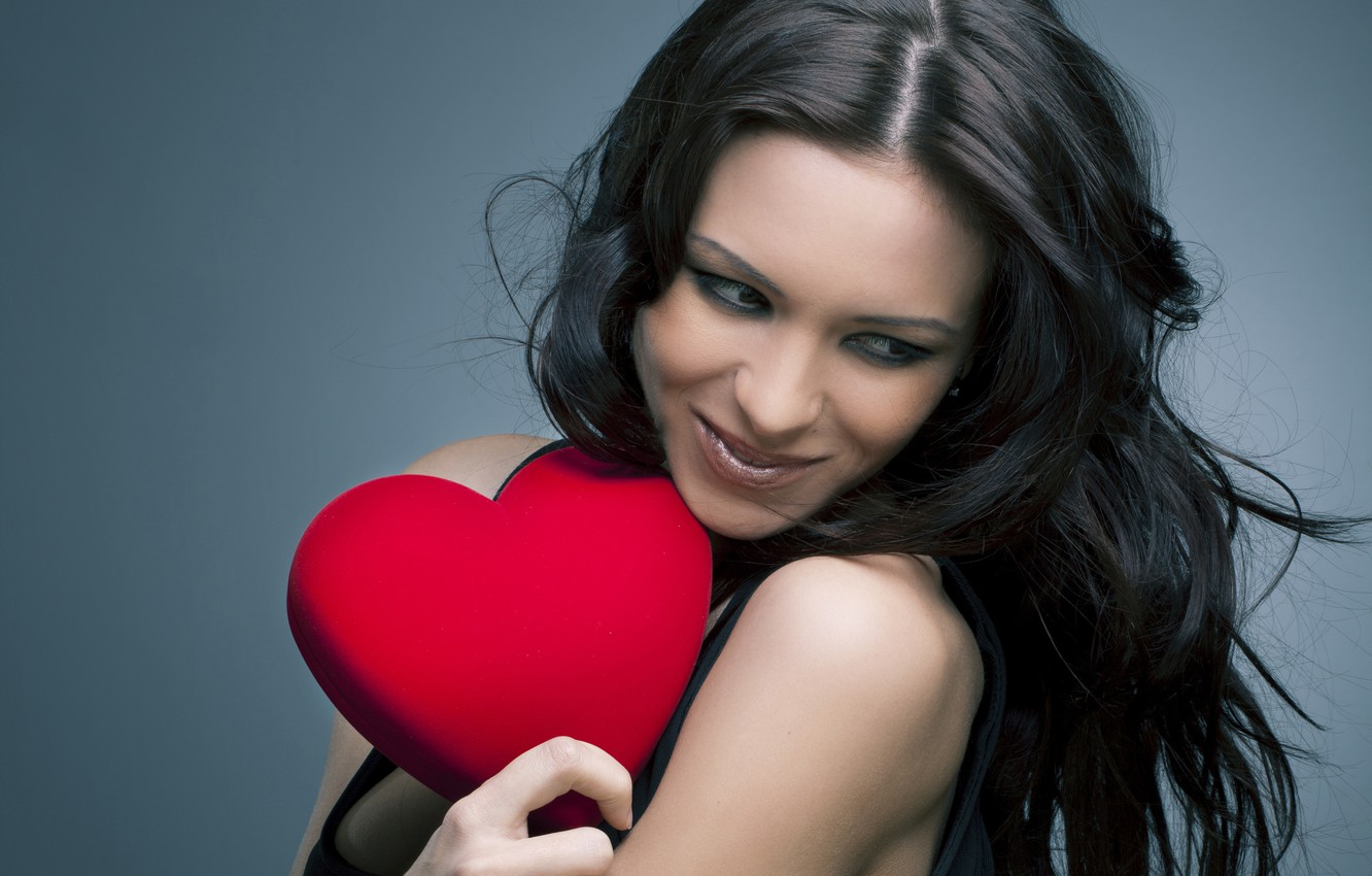 Wallpaper Girl Smile Background Red Makeup Brunette Hairstyle Heart Valentine S Day In Black Images For Desktop Section Nastroeniya Download