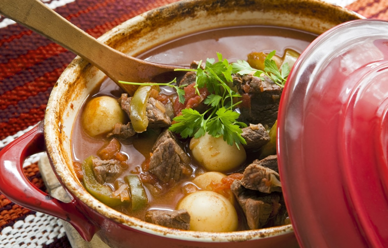 Photo wallpaper spoon, meat, pan, vegetables, potatoes, hot