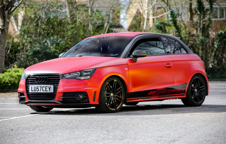 Photo wallpaper Audi, Red, monster, Satin, wrap, wraps, Smouldering