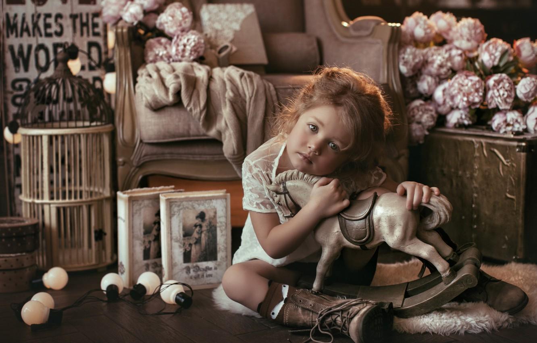 Photo wallpaper look, flowers, mood, toy, books, cell, girl, light bulb, horse