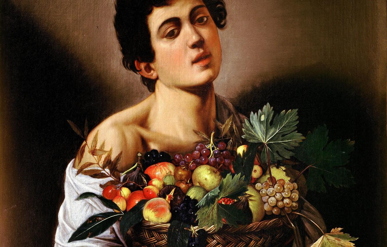Photo wallpaper portrait, picture, Caravaggio, Michelangelo Merisi da Caravaggio, Boy with a Basket of Fruit