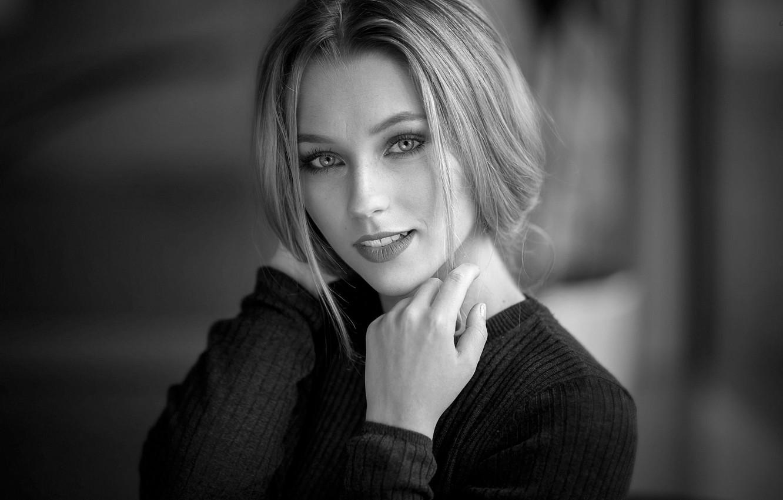 Photo wallpaper background, model, portrait, makeup, hairstyle, blonde, beauty, black and white, jacket, bokeh, Mara, Alex Fetter